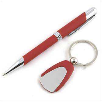 Набор подарочный: ручка и брелок (красные)