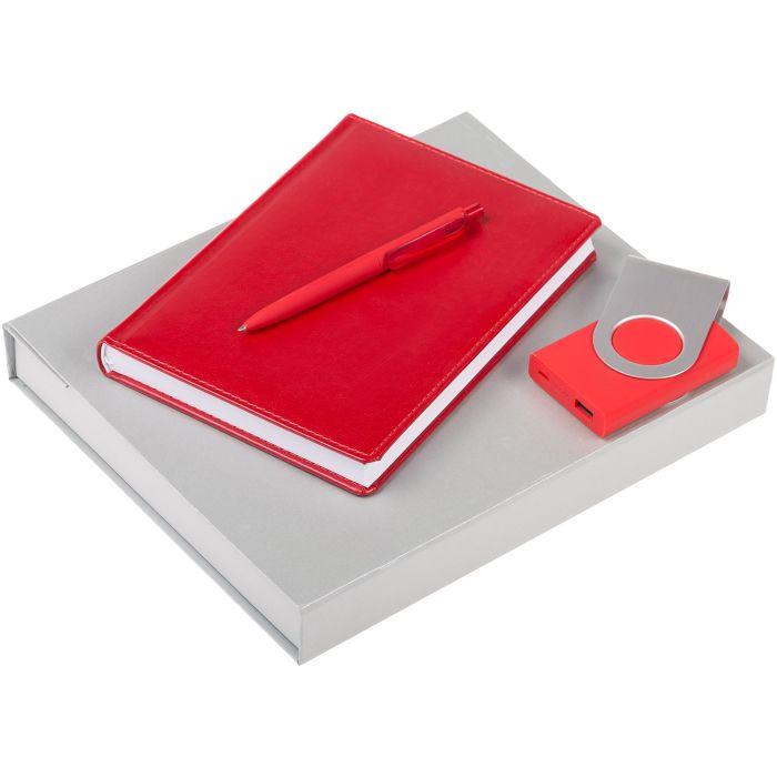 Набор Nebraska: ежедневник, внешний аккумулятор и ручка, цвет красный