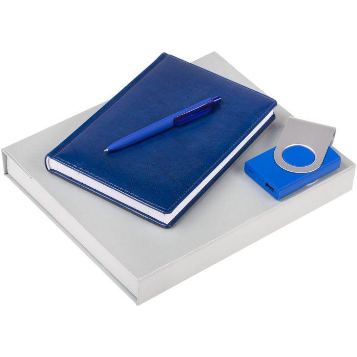 Набор Nebraska: ежедневник, внешний аккумулятор и ручка, цвет синий