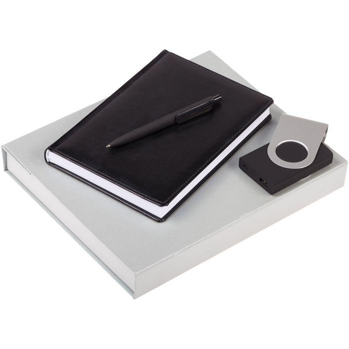 Набор Nebraska: ежедневник, внешний аккумулятор и ручка, цвет чёрный
