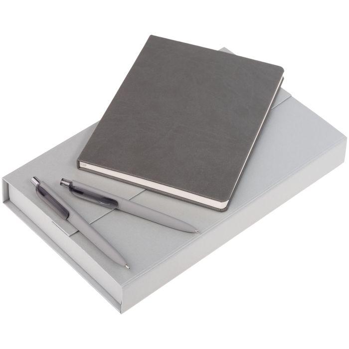 Набор Trio: блокнот, карандаш и ручка, цвет серый