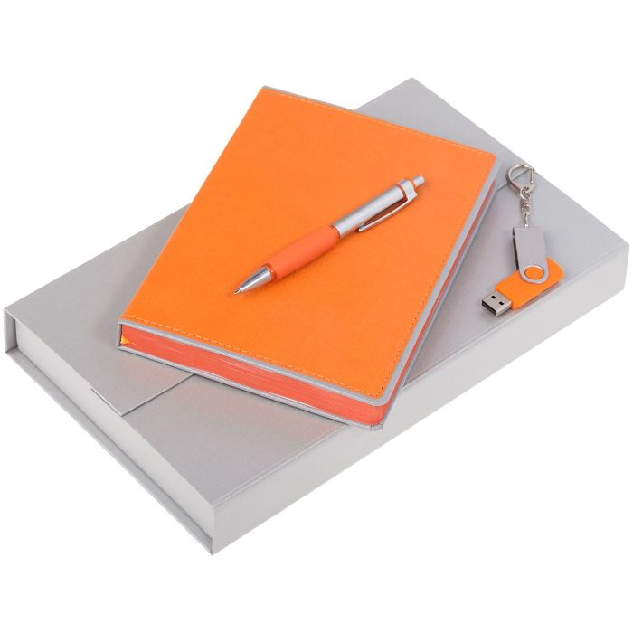 Набор Freenote: ежедневник, флешка и ручка, цвет оранжевый