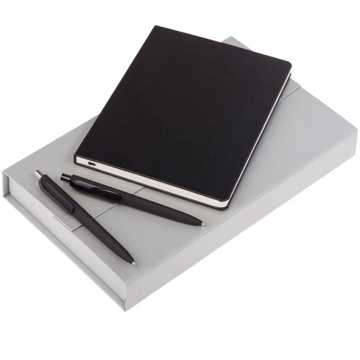 Набор Trio: блокнот, карандаш и ручка, цвет чёрный