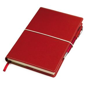 """Бизнес-блокнот """"BUSINESS"""", формат A5, в линейку, съёмная термоактивная обложка и ляссе красные"""