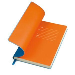 """Бизнес-блокнот """"Funky"""", формат А5, мягкая обложка и ляссе голубые, форзац оранжеый"""