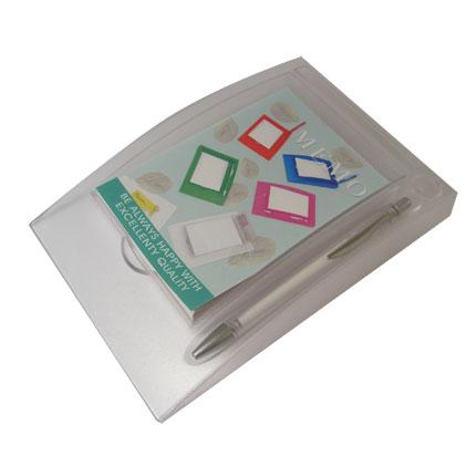 Блокнот с ручкой на горизонтальной подставке, цвет белый