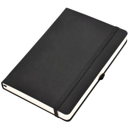 """Бизнес-блокнот, бренд """"thINKme"""", коллекция """"Silky"""", формат А5, в клетку, твердая обложка, цвет чёрный"""