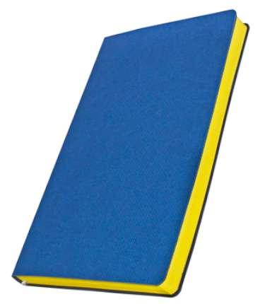 Премиум-блокнот, формат A5 (11.082-4890), Катанелла, цвет синий, срез желтый