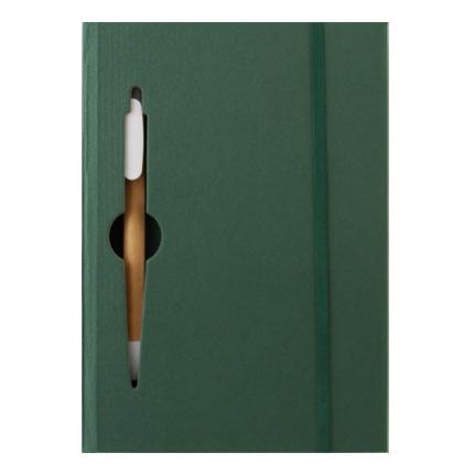 Эко блокнот с ручкой, блок белый в линейку 130 х 190 мм, 120 страниц, на резинке, зеленый