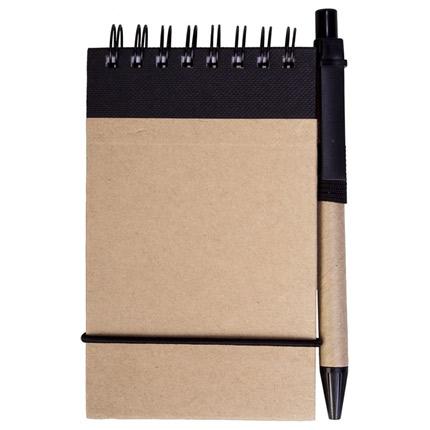 Блокнот на кольцах Eco Note с ручкой, выполненны из натурального картона, цвет черный