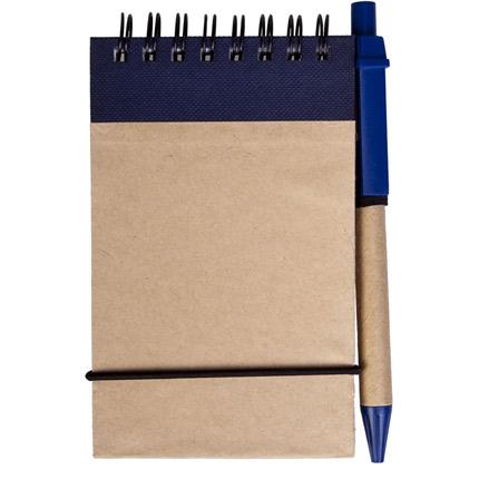 Блокнот на кольцах Eco Note с ручкой, выполненны из натурального картона, цвет синий