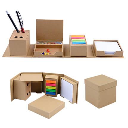 Канцелярский ЭКО набор-трансформер с кубариком, стикерами и скрепками, цвет бежевый