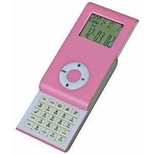 Калькулятор раздвижной с календарем и часами, розовый