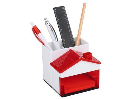 Подставка под ручки и канцелярские принадлежности в виде домика, красная