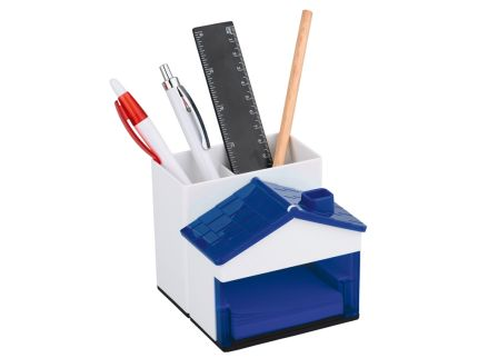 Подставка под ручки и канцелярские принадлежности в виде домика, синяя