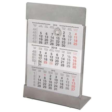 Календарь настольный на 2 года (2018 и 2019 г.г.), цвет серебряный