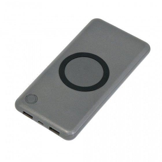 Внешний аккумулятор, Imperio с беспроводной зарядкой, 10000 mAh, в подарочной упаковке, серый