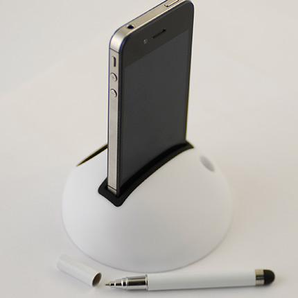 Подставка - усилитель звука для мобильного телефона, со стилусом. Цвет белый с чёрным