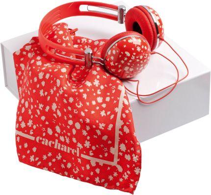 Подарочный набор Cacharel: дизайнерские наушники, шелковый платок
