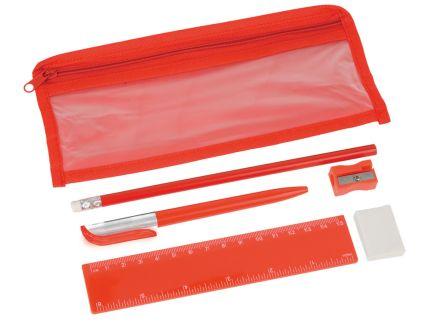 Набор канцелярский: ручка шариковая, карандаш, точилка, ластик, линейка в чехле, красный