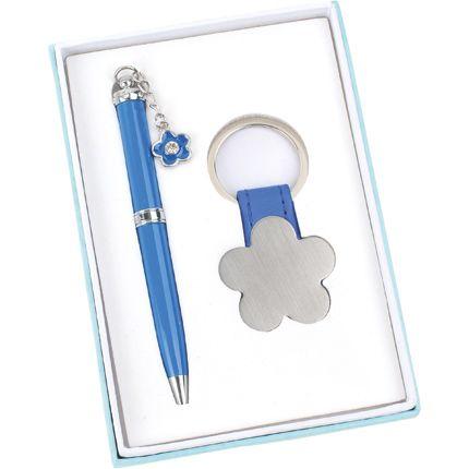 """Набор """"Цветок"""": шариковая ручка и брелок, цвет синий"""