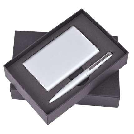 """Набор """"Mirror"""": универсальное зарядное устройство (6000 мАh) и ручка, цвет серый"""