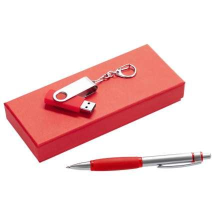 Набор Notes: ручка и флешка, красный
