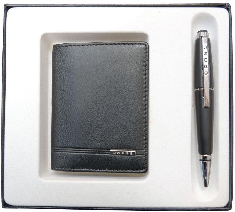Набор Cross: обложка для кредитных и визитных карт Classic Century с ручкой-роллер