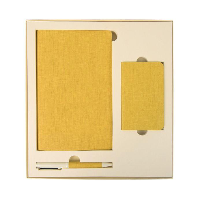 Набор подарочный PROVENCE: универсальное зарядное устройство (4000 мАh), блокнот и ручка, цвет жёлтый