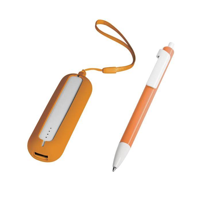 Набор SEASHELL-1: универсальное зарядное устройство(2000 mAh) и ручка в подарочной коробке, цвет белый с оранжевым