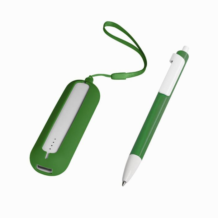 Набор SEASHELL-1: универсальное зарядное устройство (2000 mAh) и ручка в подарочной коробке, цвет белый с зелёным