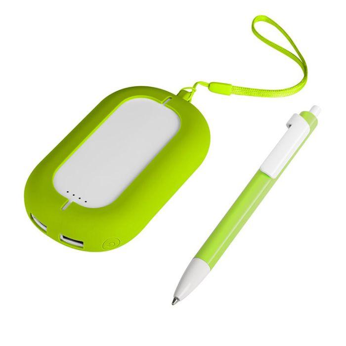 Набор SEASHELL-2: универсальное зарядное устройство (6000 mAh) и ручка в подарочной коробке, цвет белый со светло-зелёным