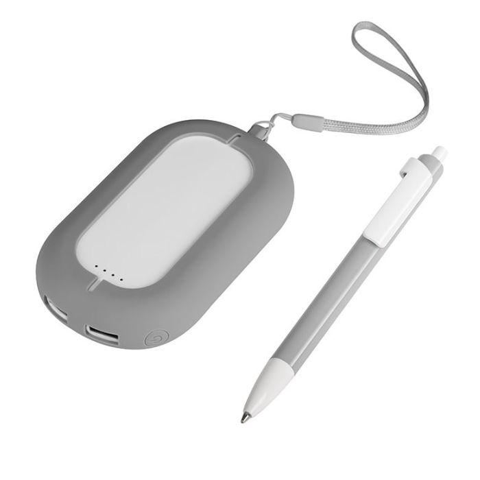Набор SEASHELL-2: универсальное зарядное устройство (6000 mAh) и ручка в подарочной коробке, цвет белый с серым