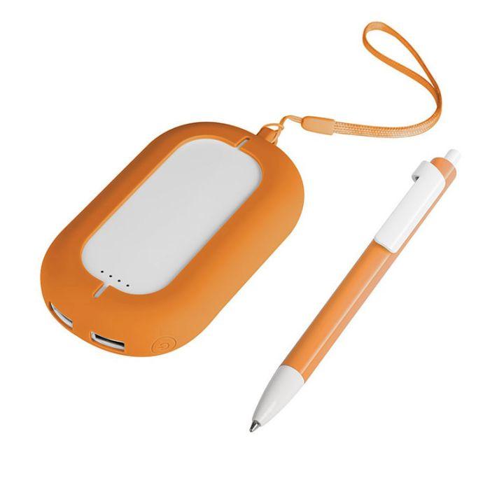 Набор SEASHELL-2: универсальное зарядное устройство (6000 mAh) и ручка в подарочной коробке, цвет белый с оранжевым