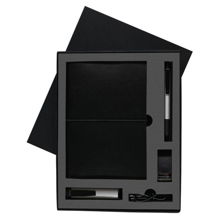 Набор Blacky Tower: зарядное устройство (2200 мАh), блокнот, USB flash-карта и ручка в подарочной коробке