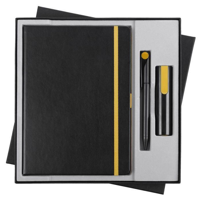 Набор Black Energy: ежедневник, ручка и аккумулятор 2200 мАч, цвет черно-желтый