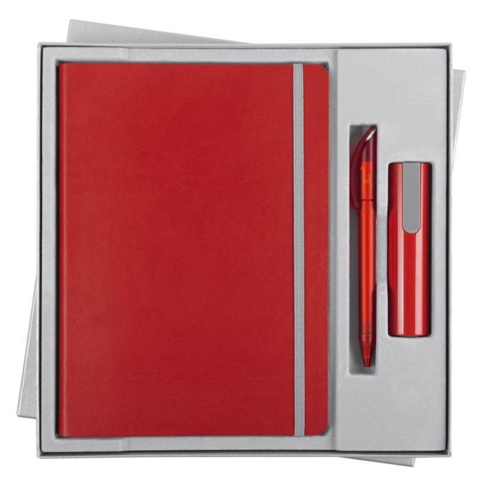 Набор Vivid Energy: ежедневник, ручка и аккумулятор 2200 мАч, цвет красный
