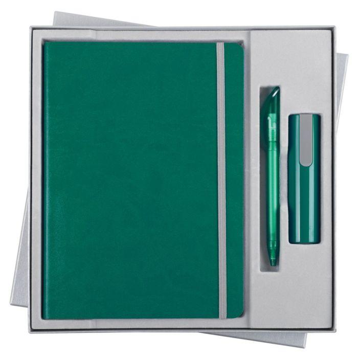 Набор Vivid Energy: ежедневник, ручка и аккумулятор 2200 мАч, цвет бирюзовый