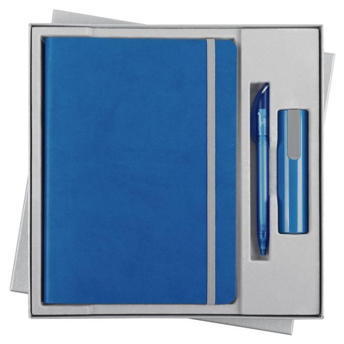 Набор Vivid Energy: ежедневник, ручка и аккумулятор 2200 мАч, цвет голубой