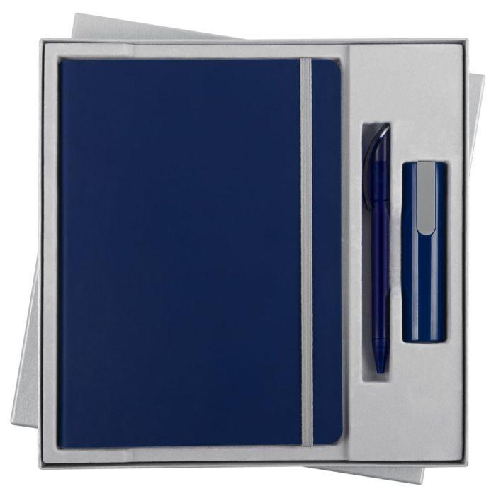Набор Vivid Energy: ежедневник, ручка и аккумулятор 2200 мАч, цвет синий
