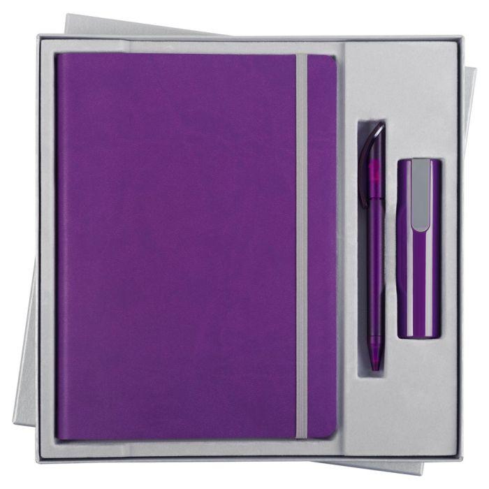 Набор Vivid Energy: ежедневник, ручка и аккумулятор 2200 мАч, цвет фиолетовый