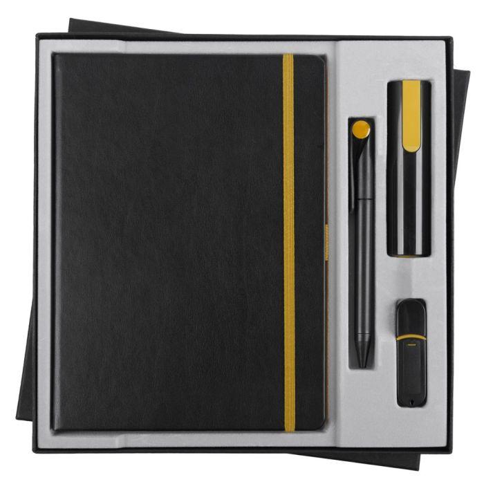 Набор Black Maxi: ежедневник, ручка, аккумулятор 2200 мАч, флешка 8 Гб, цвет черно-жёлтый