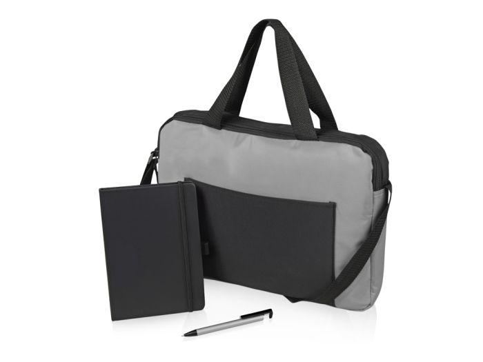"""Подарочный набор """"Conference"""": блокнот, ручка и сумка, цвет чёрный/серебристый/серый"""