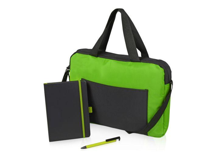 """Подарочный набор """"Conference"""": блокнот, ручка и сумка, цвет чёрный/зелёный"""