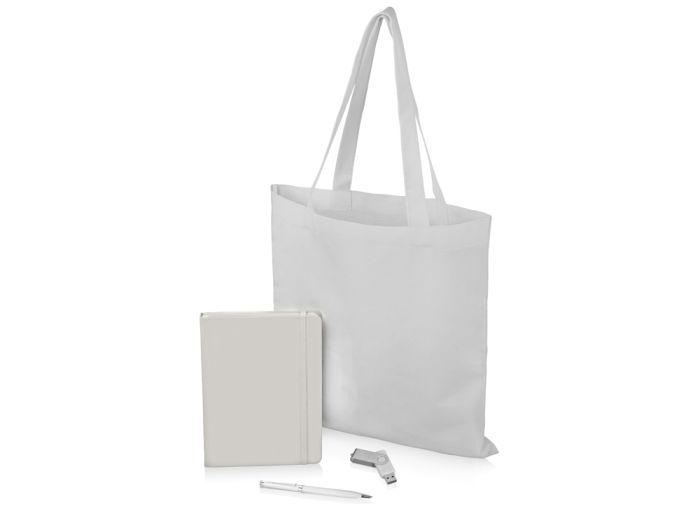 """Подарочный набор """"Guardar"""": ручка, флешка, блокнот и сумка, цвет белый"""