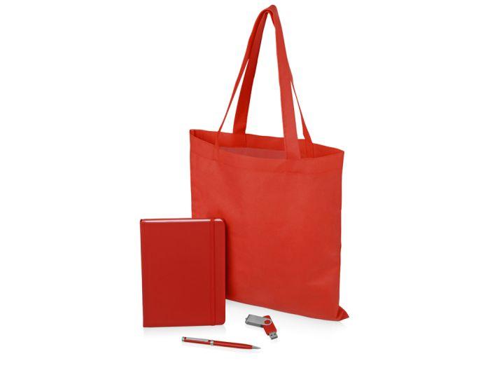 """Подарочный набор """"Guardar"""": ручка, флешка, блокнот и сумка, цвет красный"""
