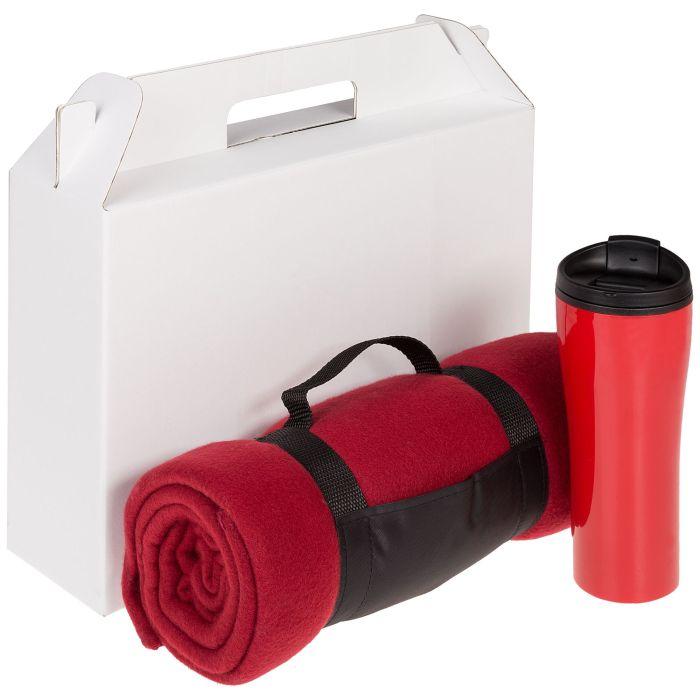 Набор Selfhood: термостакан (450 мл) и плед  (127х152 см), красный
