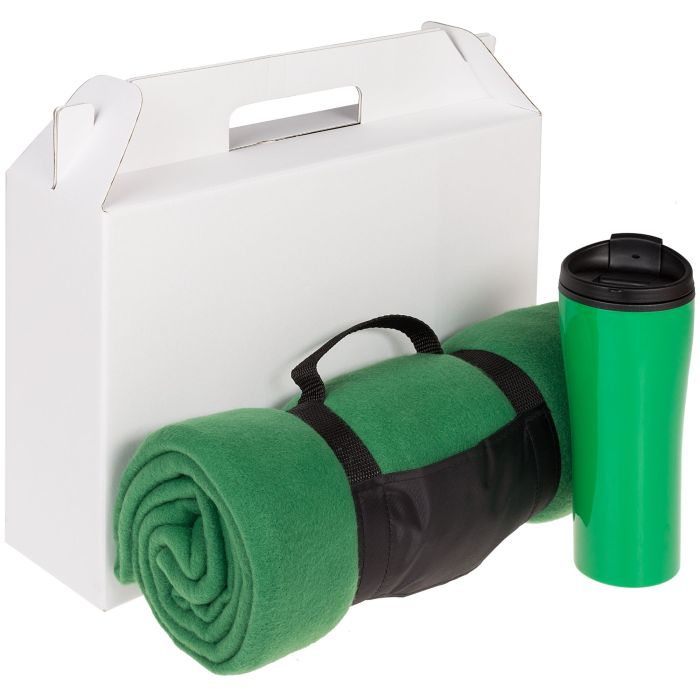 Набор Selfhood: термостакан (450 мл) и плед  (127х152 см), зелёный