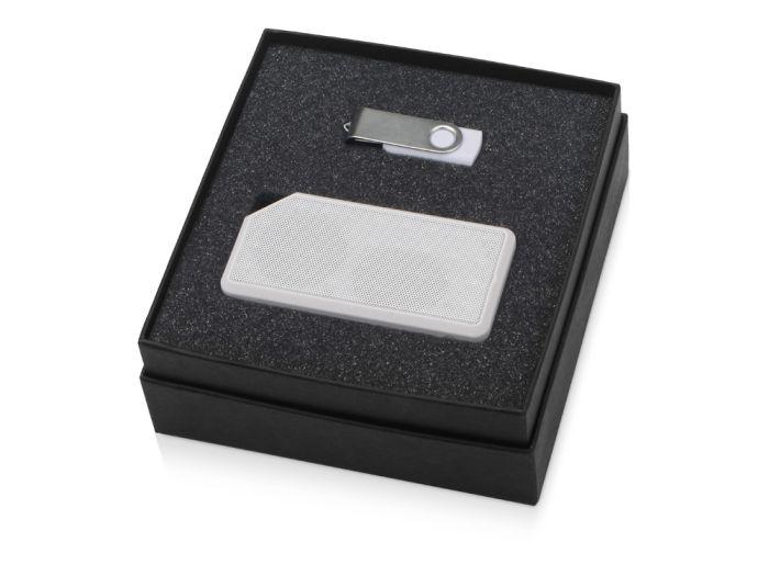 Набор Move-it: флешка 8 Гб и портативная колонка, с покрытием SOFT TOUCH, цвет чёрный/серебристый/белый