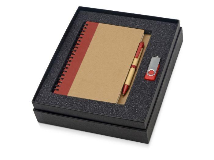 Набор Essentials: флешка 8 Гб и блокнот А5 с ручкой, цвет бежевый с красным